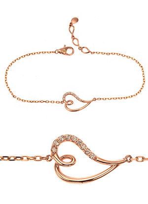 [14K Gold] 웨이브 하트 팔찌 Wave Heart Bracelet no.j3526