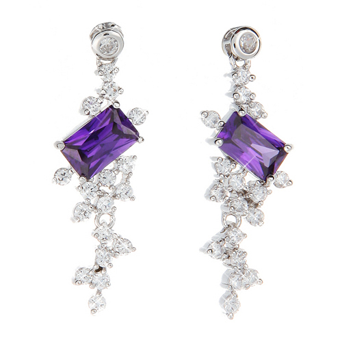 (Silver)소피아 아메시스트ZC 이어링 Sophia Amethst ZC Pierced Earrings