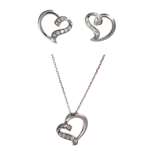 (Silver)밀드레드 이어링 네클레스 세트 Mildred Heart Pierced Earrings and Necklace