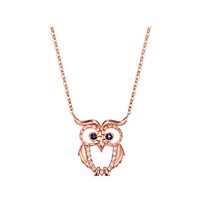 [14K Gold]부엉이 블루 목걸이 Owl blue necklace j3816