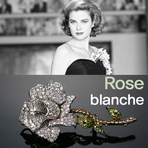 Rose blanche brooch