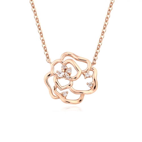 [14K/18K Gold]볼륨 로즈 목걸이Volume Rose Necklace j5874