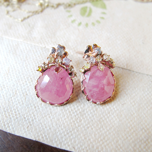 [14K Gold] 핑크 모닝 귀걸이 Pink Morning Earrings no.39